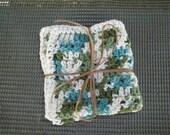 2 Crocheted Cotton Dishcloths