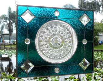 OOAK Vintage Stained Glass Window Panel, Recycled Depression Glass Federal Windsor Plate, Antique Stained Glass Transom Window Treatment
