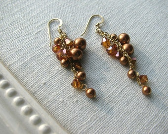 SALE 25% DISCOUNT...Copper Pearl and Swarovski Short Cluster Earrings-14k Gold Fill-Diana Collection