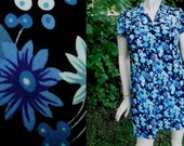 80s Dress/ Vintage Dress /Mini Dress/ Floral Dress in Blue Black & White Floral by Benson and White US Size 14