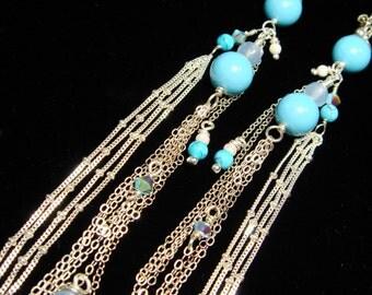 Long Silver Earrings, Fringe Earrings, Bohemian Jewelry, Pearl, Chain Fringe, Shoulder Dusters, Long Sexy Earrings, Boho Gypsy