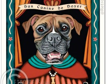 8x10 Boxer Art - Patron Saint of Fisticuffs -  Art print by Krista Brooks