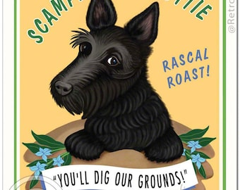 "8x10 Scottie Art - Scottie Coffee - ""You'll Dig Our Grounds"" -  Art print by Krista Brooks"