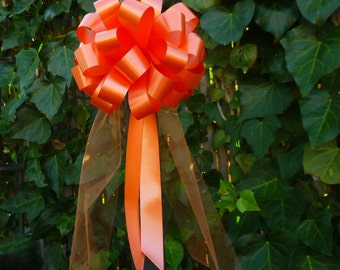 6 Orange Pew Pull Bows Tulle Beach Fall Wedding Decorations Church Aisle