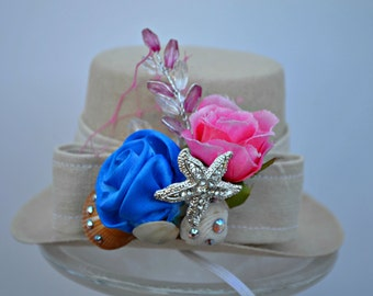 Top Hat - Floral Seashell Dog, Wedding, Ring Bearer