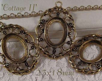 25x18mm Antique Gold Setting - 'Cottage II' - 3 pcs : sku 08.07.15.7 - W42