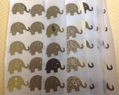 50 pc Gold Glitter and Gold Mirrored  Paper Elephant Stickers
