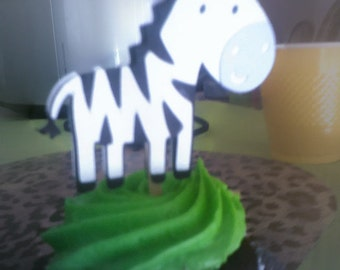 Zebra cupcake toppers or lollipop favors