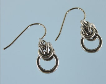 Niobium earrings: Half byzantine niobium chainmaille dangles in your choice of colour