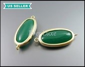 2 Green agate matte gold bezel set stones, large oval stone, jewelry connectors, smooth oval jade stone 5120MG-GA (matte gold)