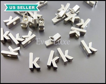2 lowercase alphabet letter k silver initial necklace beads / matte silver alphabet charms 1947-MR-K