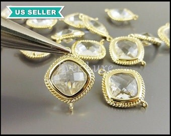 2 clear crystal glass faceted diamond shape jewelry connector, cushion cut glass stone pendant with gold frame 5089G-CL