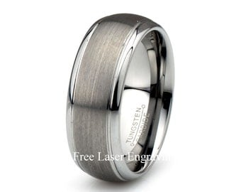 Tungsten Carbide Wedding Ring Brushed Domed Wedding Band Polished Stepped EdgeTungsten Mens Women's Anniversary Rings Custom Laser Engraving