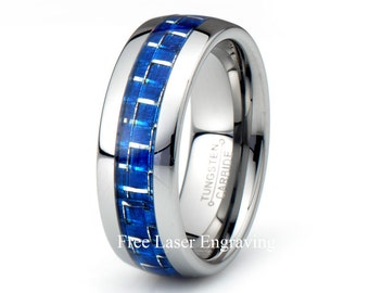 Tungsten Carbide Wedding Band 8mm Polished Dome Blue Carbon Fiber inlay mens wedding bands anniversary rings custom laser engraving his ring