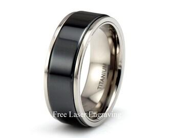 Titanium Ring with Black Ceramic Center 8m Titanium Wedding Band Mens Women's Anniversary rings Custom Titanium Bands