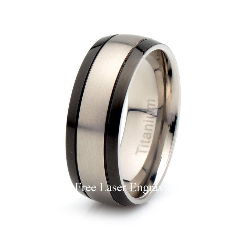 Titanium Mens Wedding Band: Mens Titanium Black Wedding Band Brushed Domed Titanium Ring