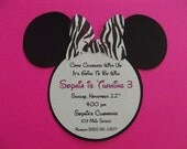 Zebra Minnie Mouse Inspired Invitations Girl Birthday Party - Envelopes Included