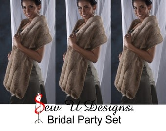 """Set of THREE Frosted Light Brown grooved faux fur Winter wedding Stole shawl wrap 72"""" length 4 grooved rows wide"""