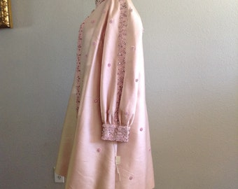 vintage 1960s pink mod ornate beaded dress with top coat