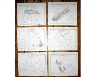 1892 STAR MAPS set of 6 north star map arcs original antique celestial astronomy prints northern sky