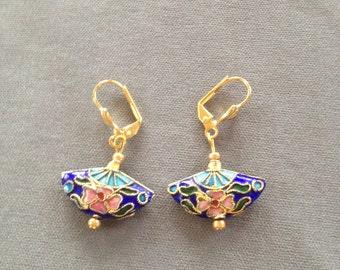cloissone' fan earrings