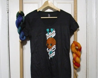 Bury Me With My Yarn V-Neck Shirt Sizes: Small through 5X - Awesome Gift for Knitters, Weavers, Crocheters, and Spinners