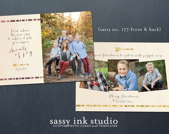 Instant Download - Holiday Photo Card Template - 5x7 photoshop template - Christmas card (no. 177)