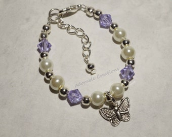 White Pearl & Swarovski Crystal Butterfly Bracelet - You Pick Birthstone Crystal Color