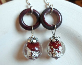 Lampwork Earrings, Glass Hoop Earrings, Handmade Glass Fashion Jewelry, Unique Glass Lampwork Jewelry Gift Ideas For Her