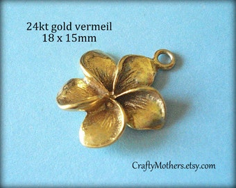 Use TAKE10 for 10% off! 2 Bali 24kt Gold Vermeil Plumeria Flower Charm, artisan-made jewelry supplies