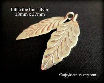 Karen Hill Tribe Fine Silver Large Mint Leaf Charm or Pendant (1 piece), 13mm x 37mm long