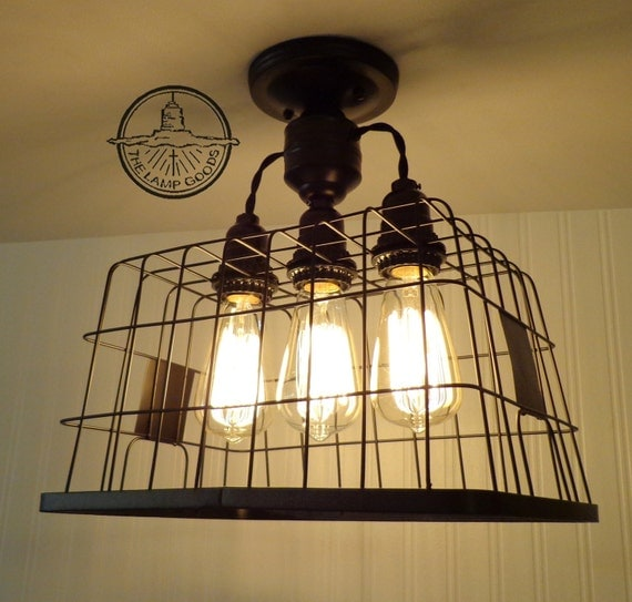 Basket CEILING LIGHT With Edison Bulbs Rustic Country