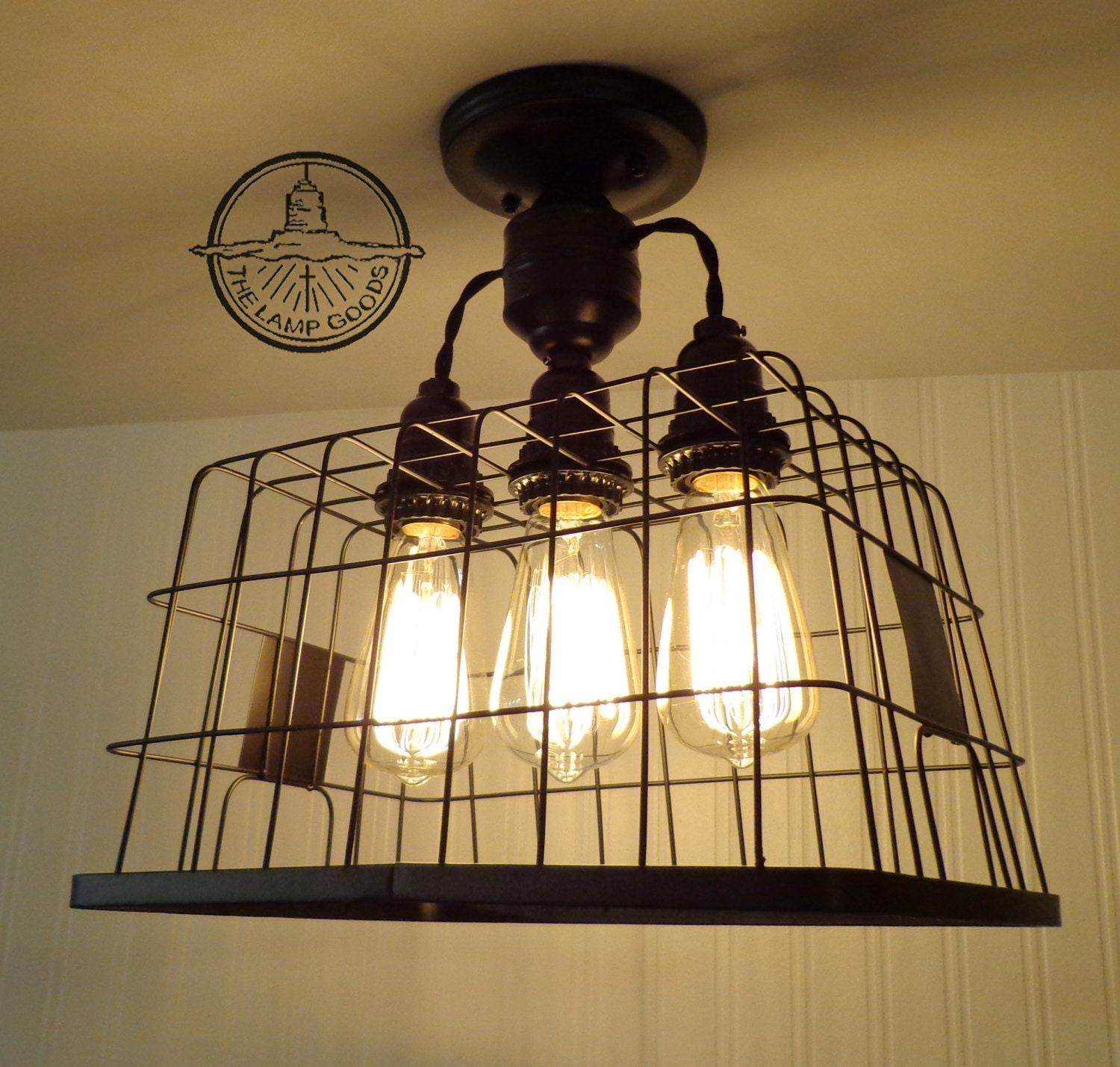 Just Reduced Rustic Handmade 3 Bulb Hanging Light Fixture Or: Basket CEILING LIGHT With Edison Bulbs Rustic Country