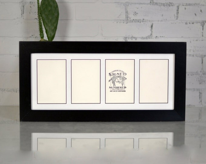 """19.5 x 8"""" Multiple Window Opening Picture Frame for (4) 4x6 Photos in Standard Style and Finish COLOR of YOUR CHOICE - 4 x 6 Collage Frame"""