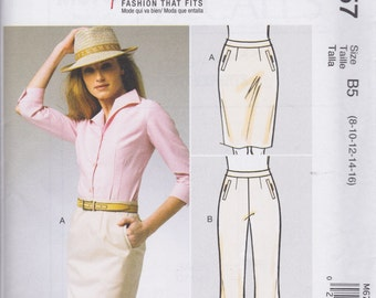 McCall's Pattern M6757 Palmer-Pletsch Semi-Fitted Skirt & Slightly Flared Pants with Contoured Waistband and Welt Pockets Misses'  8 - 16