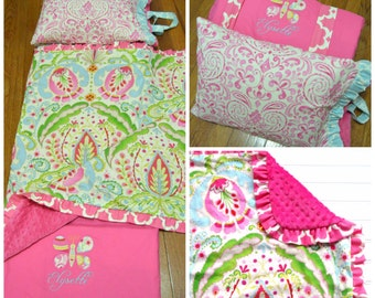 Ships Fast- Nap Mat Cover- Personalized Kumari Garden Nap Mat with Ruffled Blanket