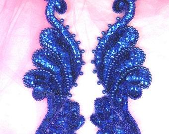 "0016 Appliques Blue Mirror Pair Sequin Beaded 8"" (0016X-bl)"