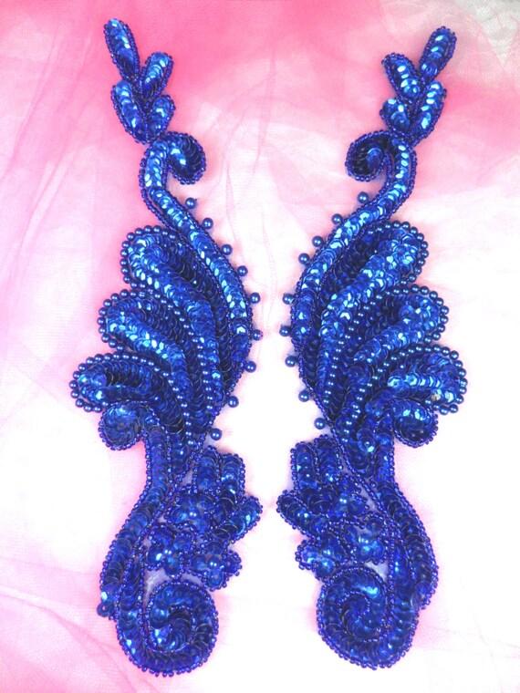 0016 appliques blue mirror pair sequin beaded 8