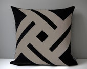 Black & Taupe Indoor Outdoor Pillow Cover, Modern Pinwheel, Sunbrella Cushion Cover, Decorative Throw Pillow Case, Mazizmuse Patio Decor