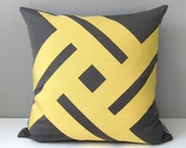 Grey & Butter Yellow Pillow Cover, Modern Outdoor Pillow Case, Decorative Accent Pillow, Pinwheel, Gray Geometric Sunbrella Cushion Cover