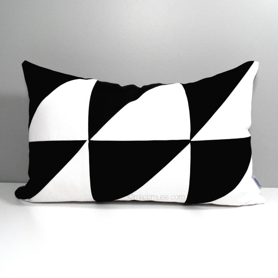 Black White Outdoor Pillow Cover Modern Color Block by Mazizmuse