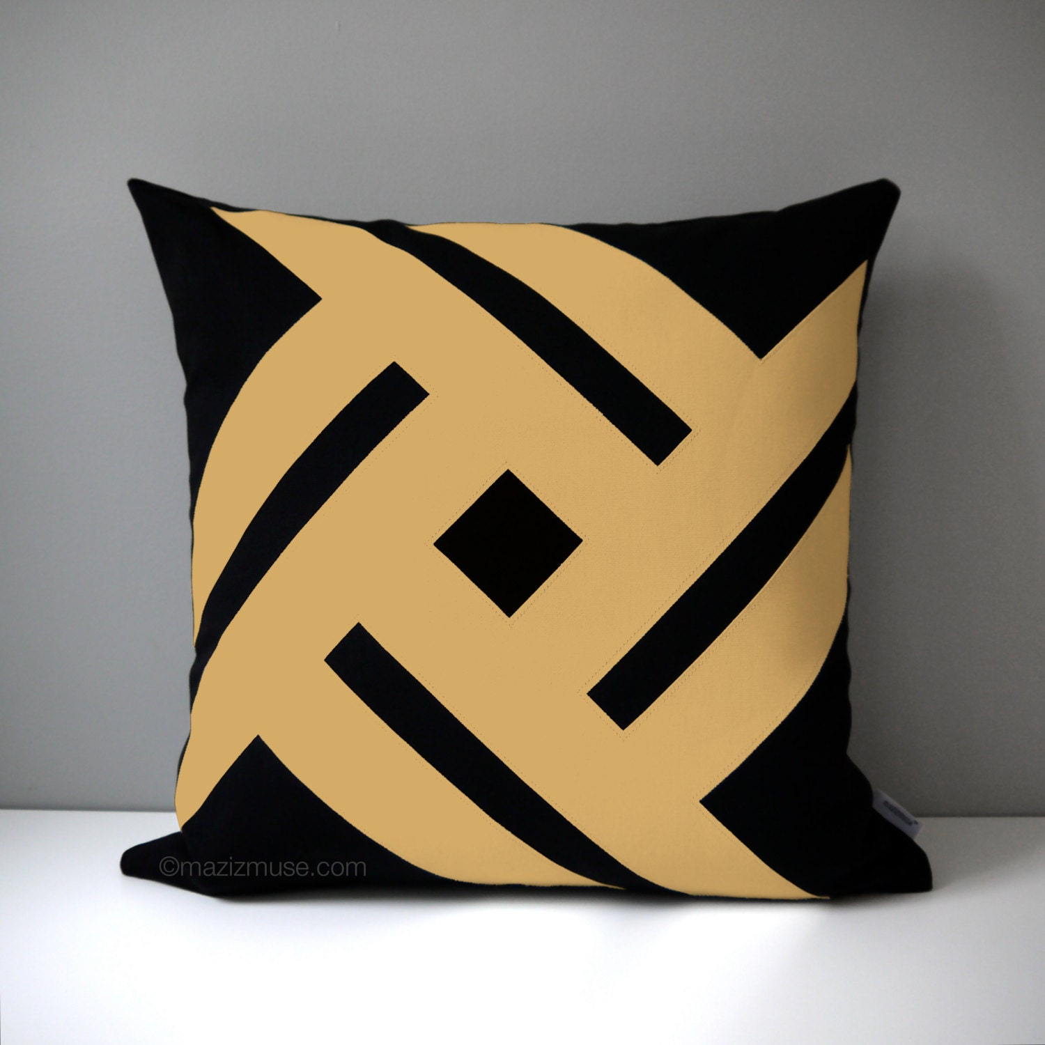 Black & Gold Outdoor Pillow Case Modern Pillow Cover