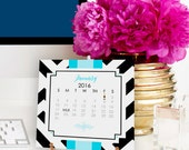 2016 Calendar - Desk Calendar with Brass Easel - 2016 Calendar with Stand - Modern Patterns & Preppy Color Combinations by A Blissful Nest