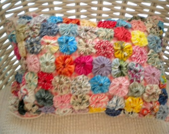 So Sweet Shabby Chic, Cottage Style All Hand Made Yoyo Rosettes  Decorative Pillow-Hand Fashioned and Vintage Elements For You