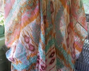 Tribal Print Summer Kimono, lightweight wrap, shawl