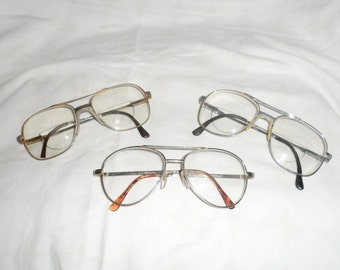 Three Pairs of Mens Vintage Eyeglasses 1970's 1980's Glasses Bifocal and Singal Lens