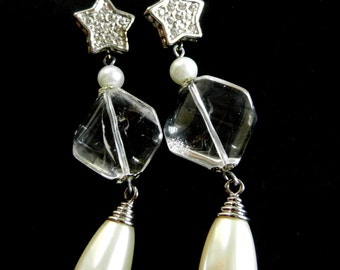 Spectacular long earrings 1970s vintage  - for the bride in winter,crystals and pearls to shine like a star-Art.307/2-