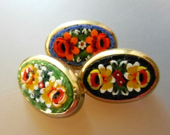 Lovely 1950s Vintage Italian - 3 pieces fabulous micro mosaic brooches - Florentine artistic work perfect for collection -- Art.955/3 -