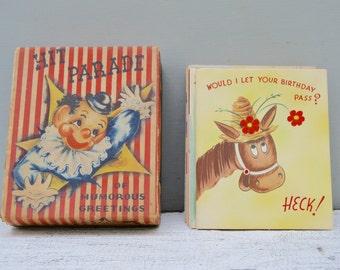 14 Vintage Card Lot . Scrapbooking . ephemera . paper . supplies . Hit Parade Cards . Humorous . Animated