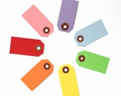 70 Little Parcel Tags - Rainbow Mix with Pink